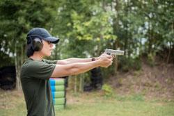 A man is practicing shoot gun
