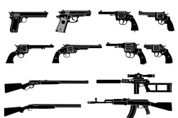 Gun and automatic weapon vector
