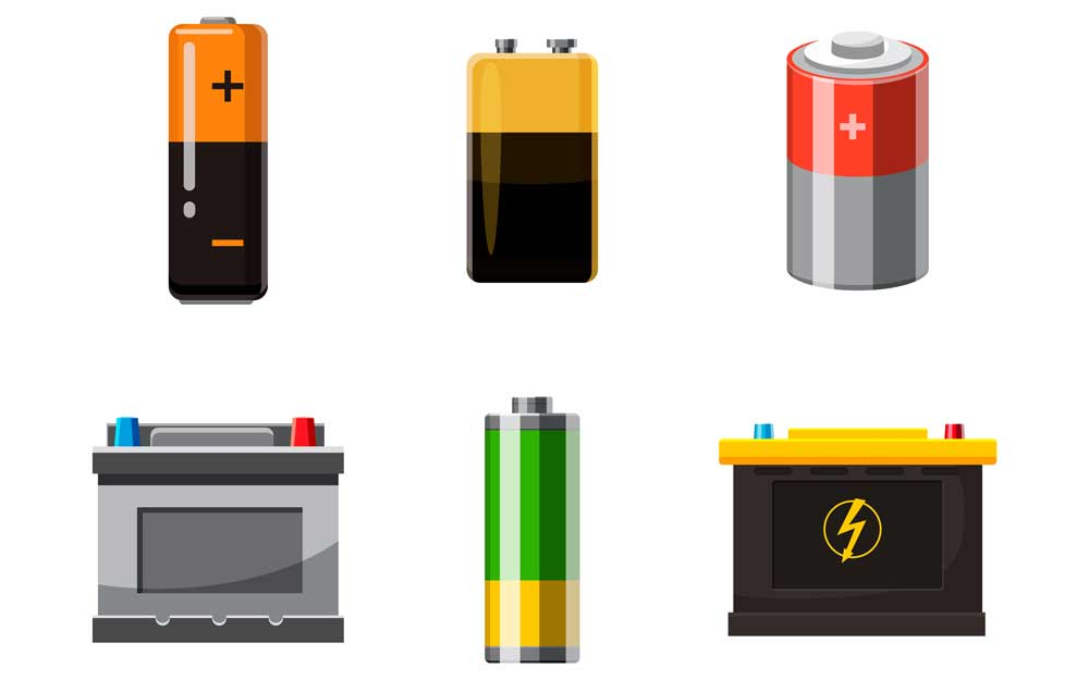 Battery objects set. cartoon set of battery