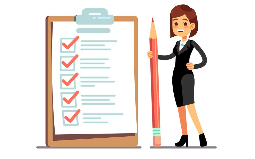 Happy woman holding pencil at giant schedule checklist