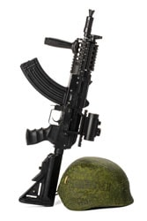 Military toy airsoft rifle isolated on white