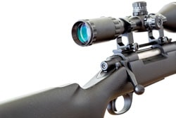 Scope with sniper rifle on white background