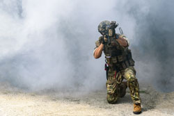 The military or soldier holding machine guns for ready to attack