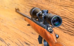The riflescopes on old wooden