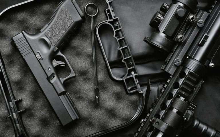 Weapons and military equipment for army, assault rifle gun