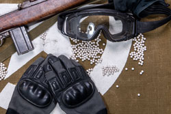 protective glasses and lot of bullets