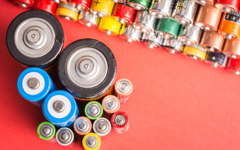 Batteries of different types and sizes
