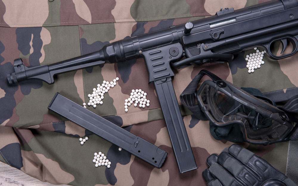 Air soft gun with protective glasses and lot of bullets