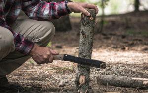 Cobalt Grey Cerakote Coated 5160 Steel Fixed Blade Wood Chopping Knife