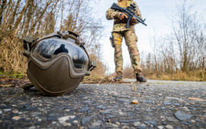 Airsoft helmet on the ground