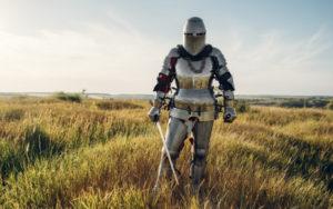Knight in armor and helmet holds EN45 Steel sword