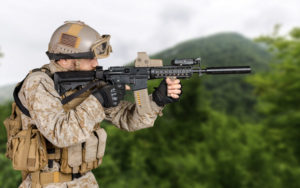 soldier with Best Airsoft M4 Rifles