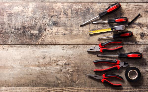 tools repair set on wooden