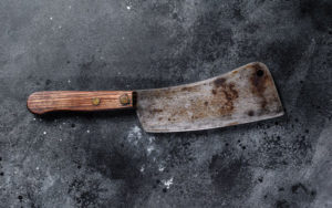 Vintage butcher cleaver with wooden handle