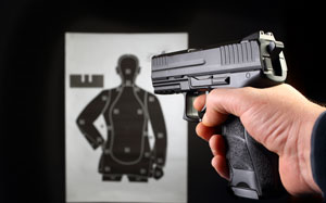 Pistol aiming on a target