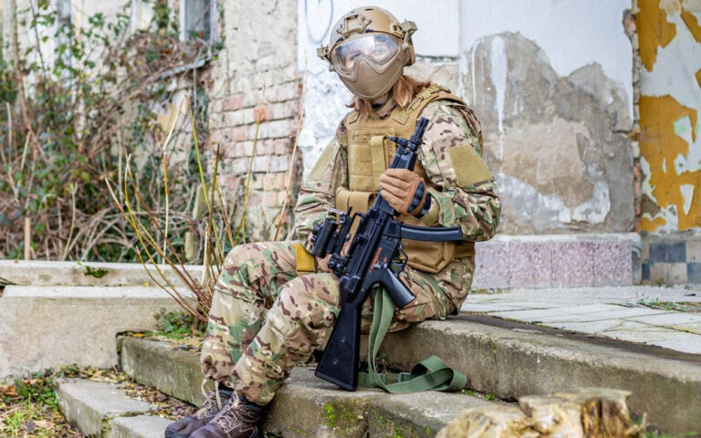 Airsoft Face safety protection mask on wooden